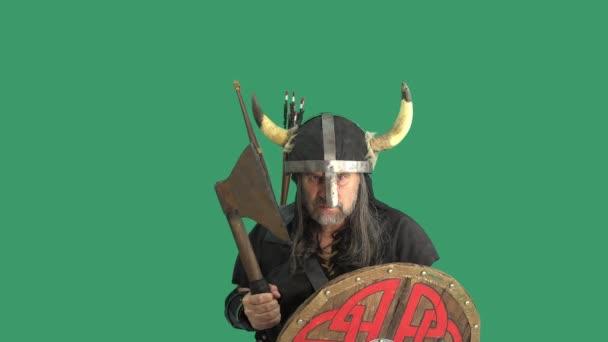 Portrét dospělého mužského válečníka, Vikinga v helmě s rohy, křičícího a agresivně mávajícího velkou sekerou a hněvivě zasaženého dřevěným štítem. Zelené pozadí