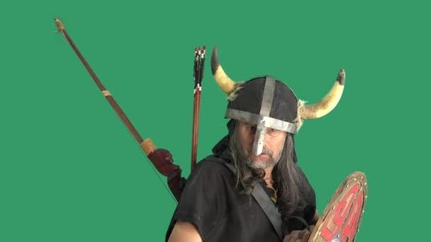 Portrét impozantního prostého válečníka na zeleném pozadí, zvedá stříbrný roh s medovinou a nápoji. Starší muž v helmě s rohy a dřevěným štítem