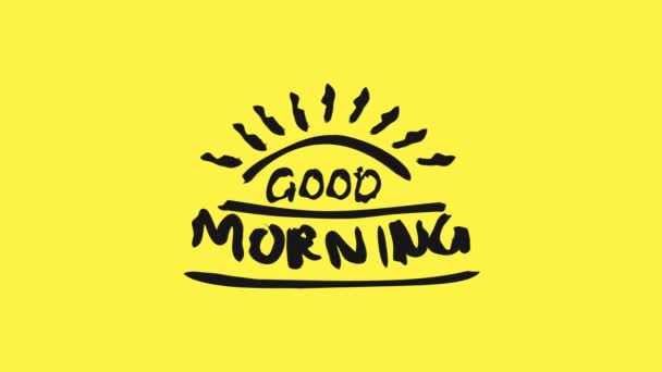 Good morning greeting in motion graphic with doodle text style