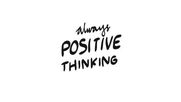 Handschriftliche Inschrift: Keep Positive Thinking. Psychische Gesundheit in Bewegungsgrafik, animiert in 4k Größe