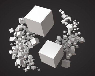 flock of cubes, rotating around each other. 3d style vector illustration