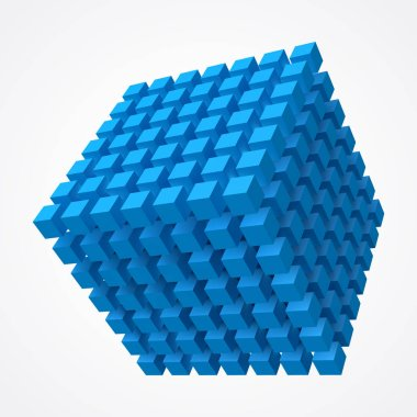 cube of cubes, blue version 3d style vector illustration