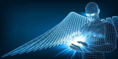 the angel of artificial intelligence keeping in hands future of humanity