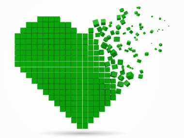 heart shaped, dissolving data block. made with green cubes. 3d pixel style vector illustration.