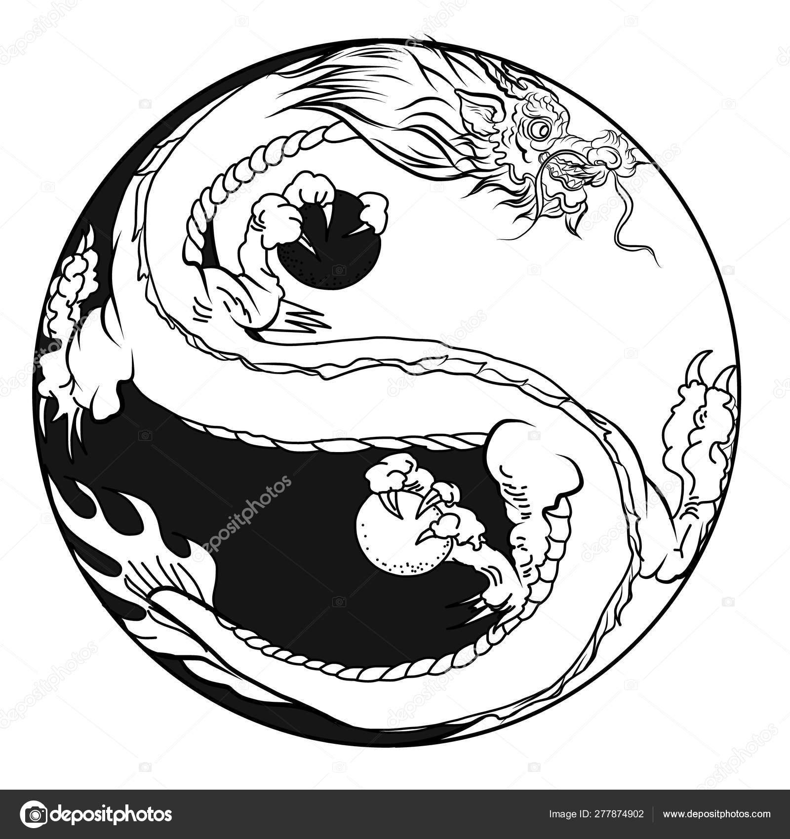 Hand Drawn Dragon Chinese Dragon Tattoo Black White
