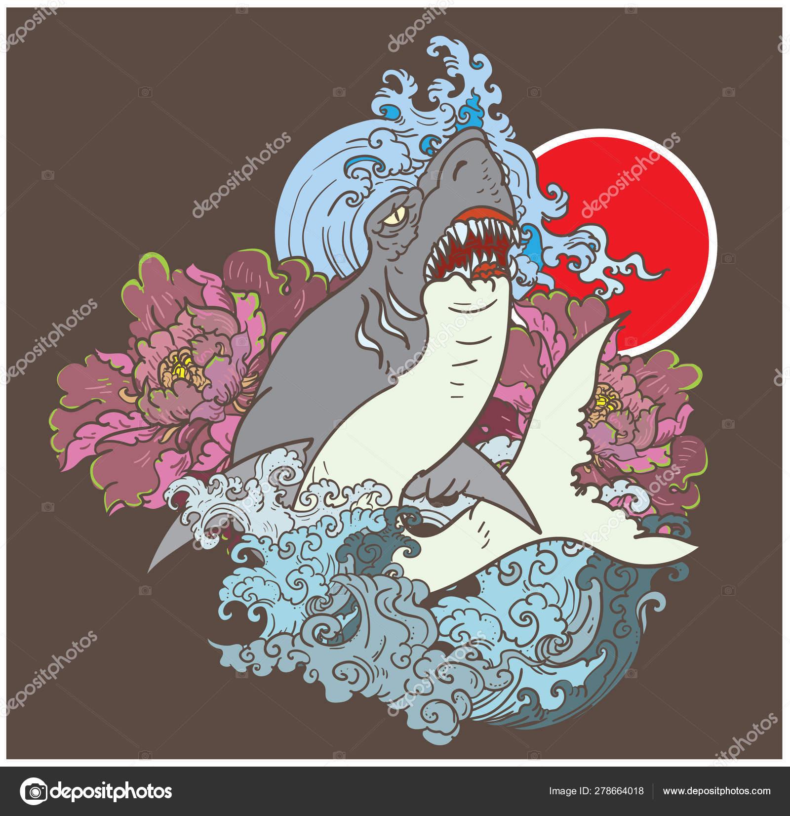 Japanese Shark Tattoo Peony Flower Stock Vector C Nipatsara 278664018