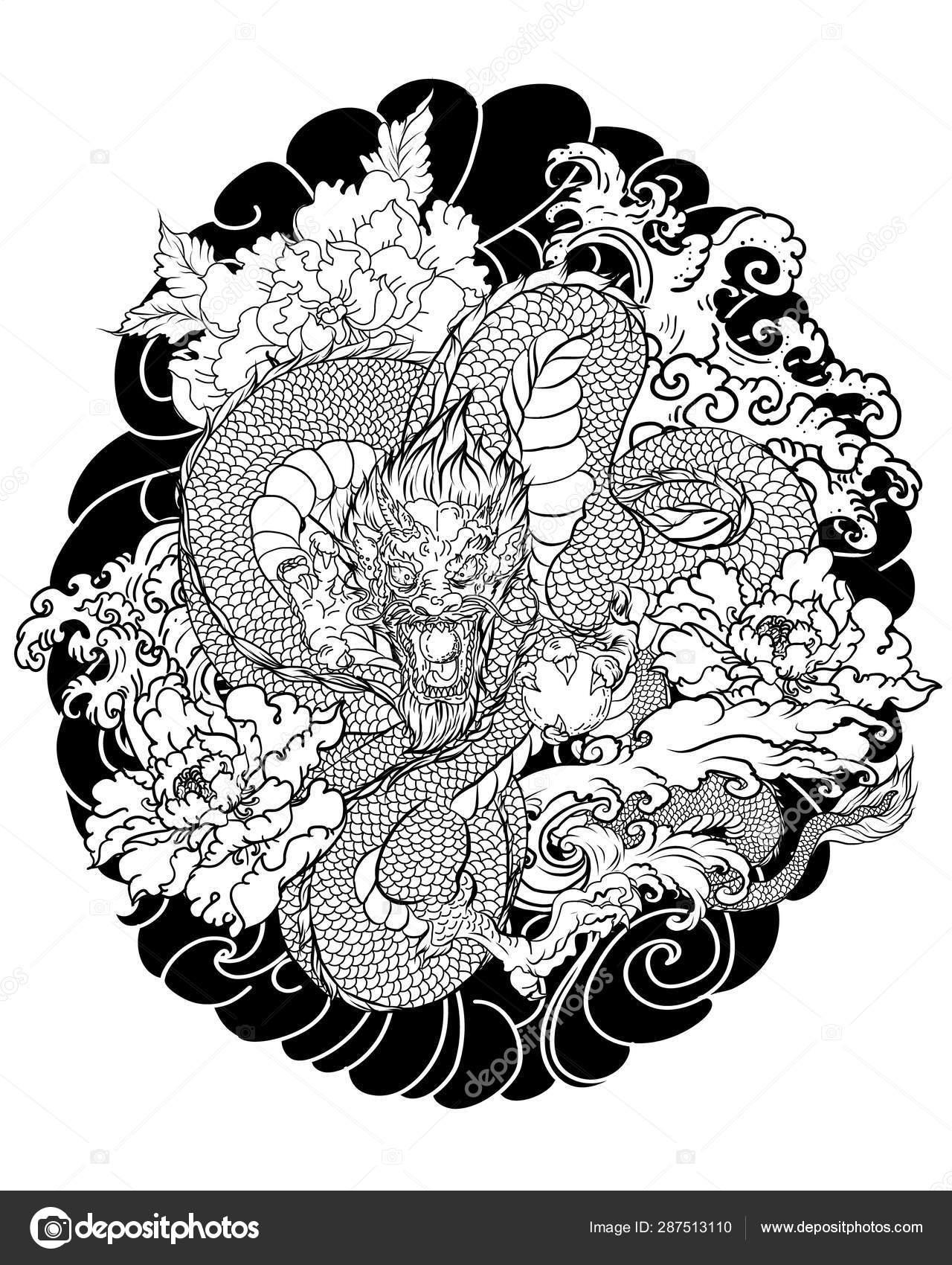 Hand Drawn Dragon Tattoo Coloring Book Japanese Style Japanese Old Stock Vector C Nipatsara 287513110