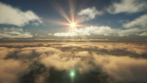 fly above clouds sun ray