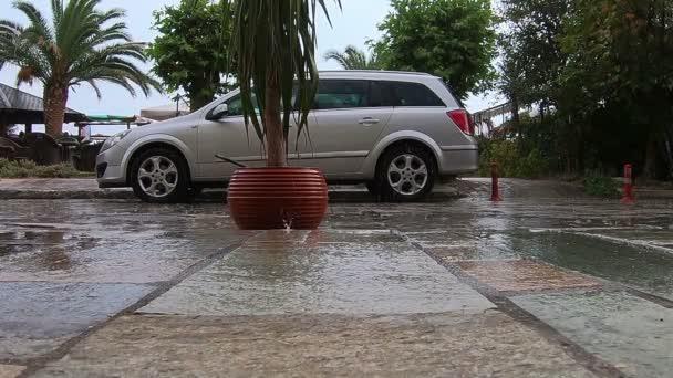 rain in street slow motion