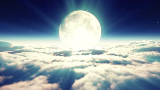 álom repülni a felhők és a Hold 4k