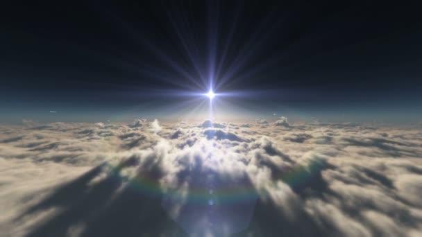 nad mraky ray západ slunce