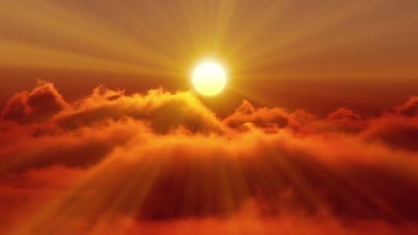 Západ slunce nad mraky fly
