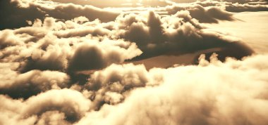 flay above clouds abstract