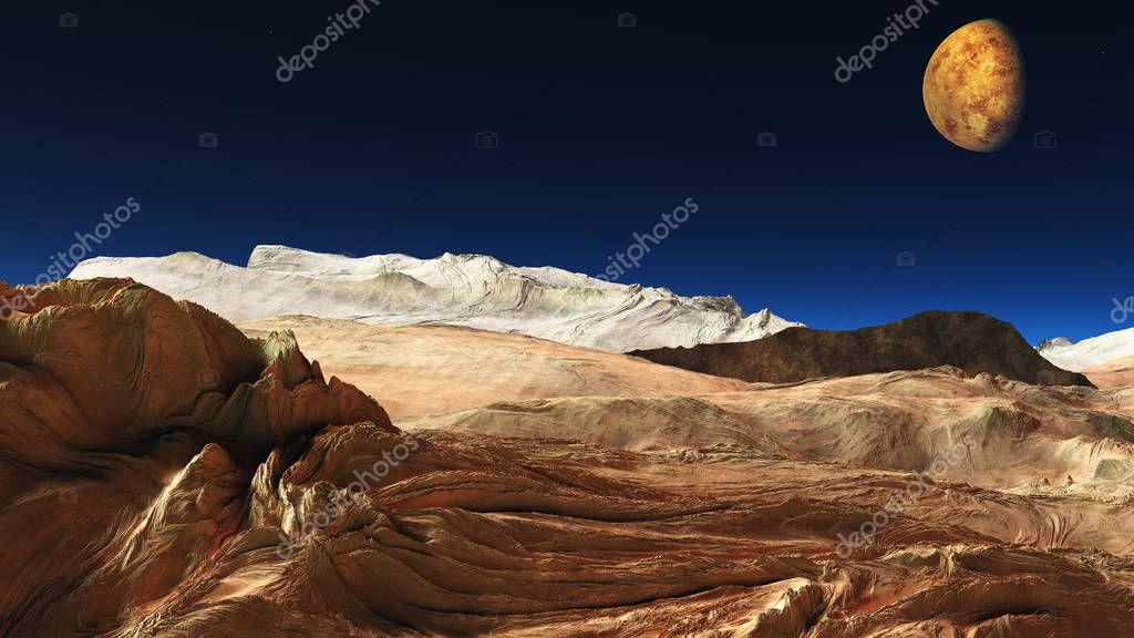 space mars terrain aerial shot