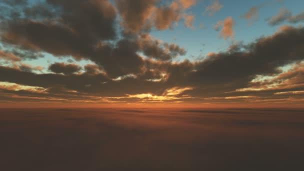 nebe, západ slunce nad mraky 4k