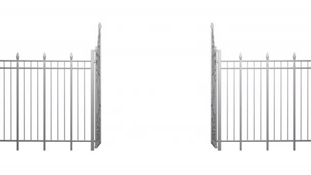 3D animáció a nyitó és záró kapuk. Kerítés. Monokróm. Elszigetelt