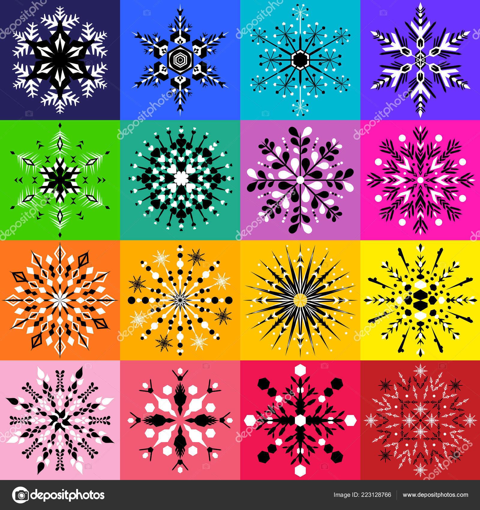 Disegni Neri Su Colorato Insieme Sedici Disegni Fiocco Neve