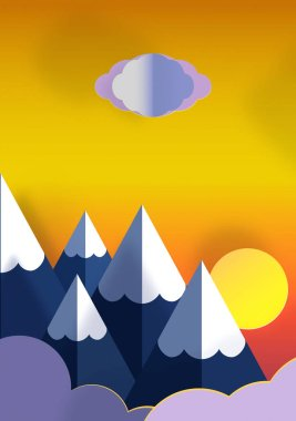 Paper art origami , beautiful landscape of mountains with snow and clouds.  Illustration of sunset in nature. stock vector