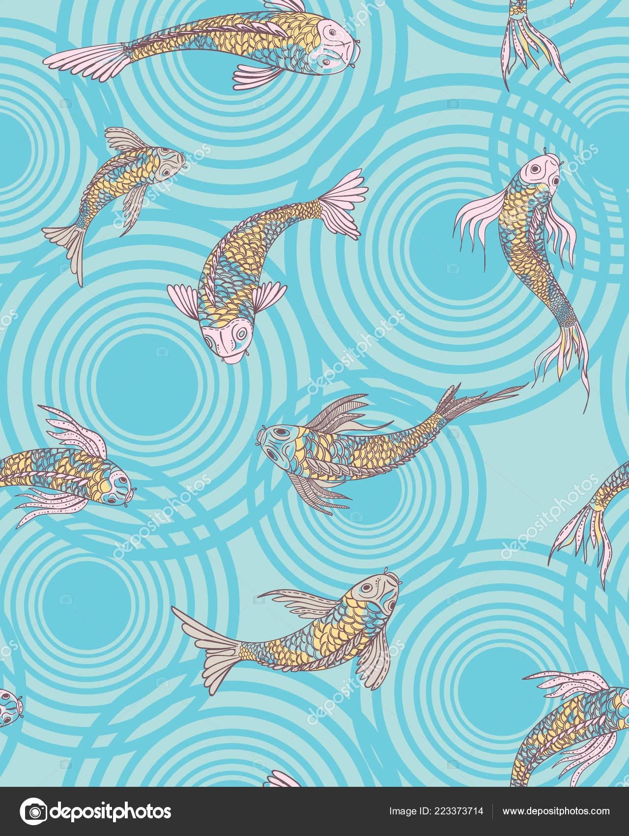 Fish Design Wallpaper Fish Seamless Pattern Wallpaper
