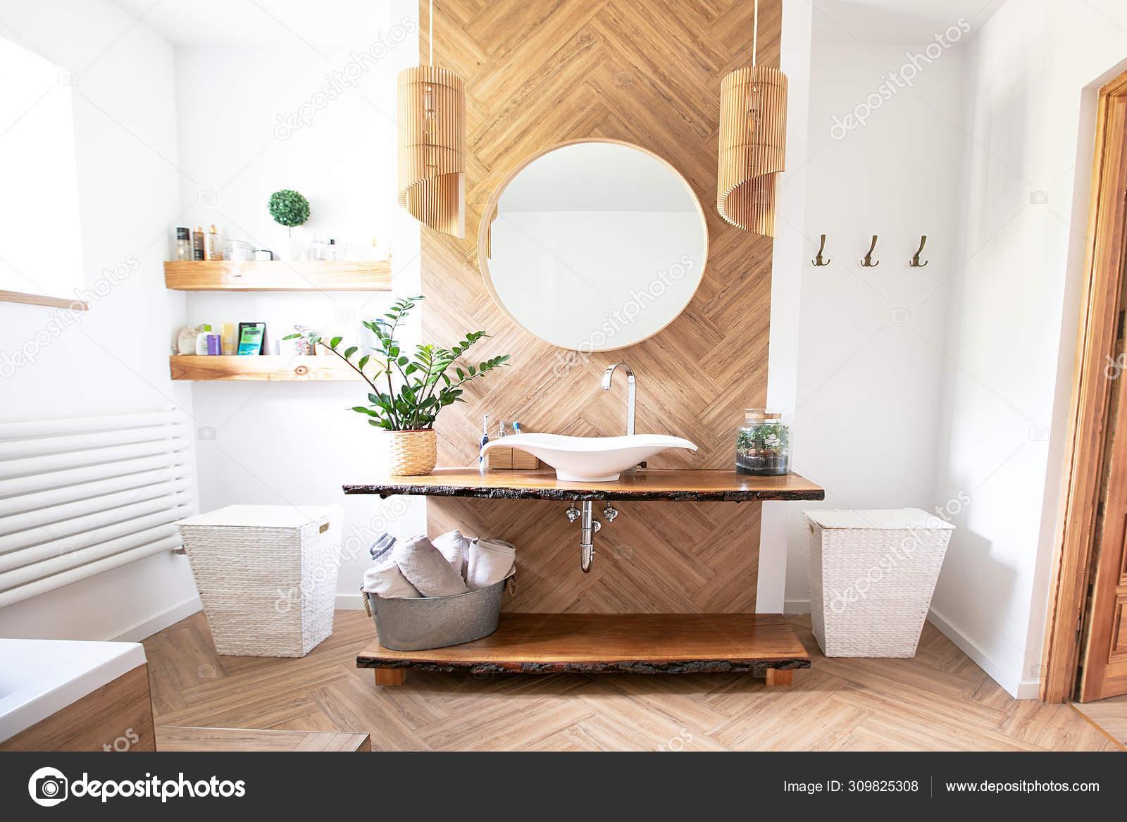 Boho Stil Badezimmer Interieur.   Stockfotografie lizenzfreie ...