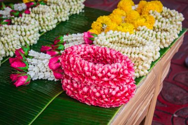 Thai style flower garland made of flowers.