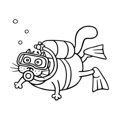 Cute diver cat dived with an aqualung. Cartoon animal character.
