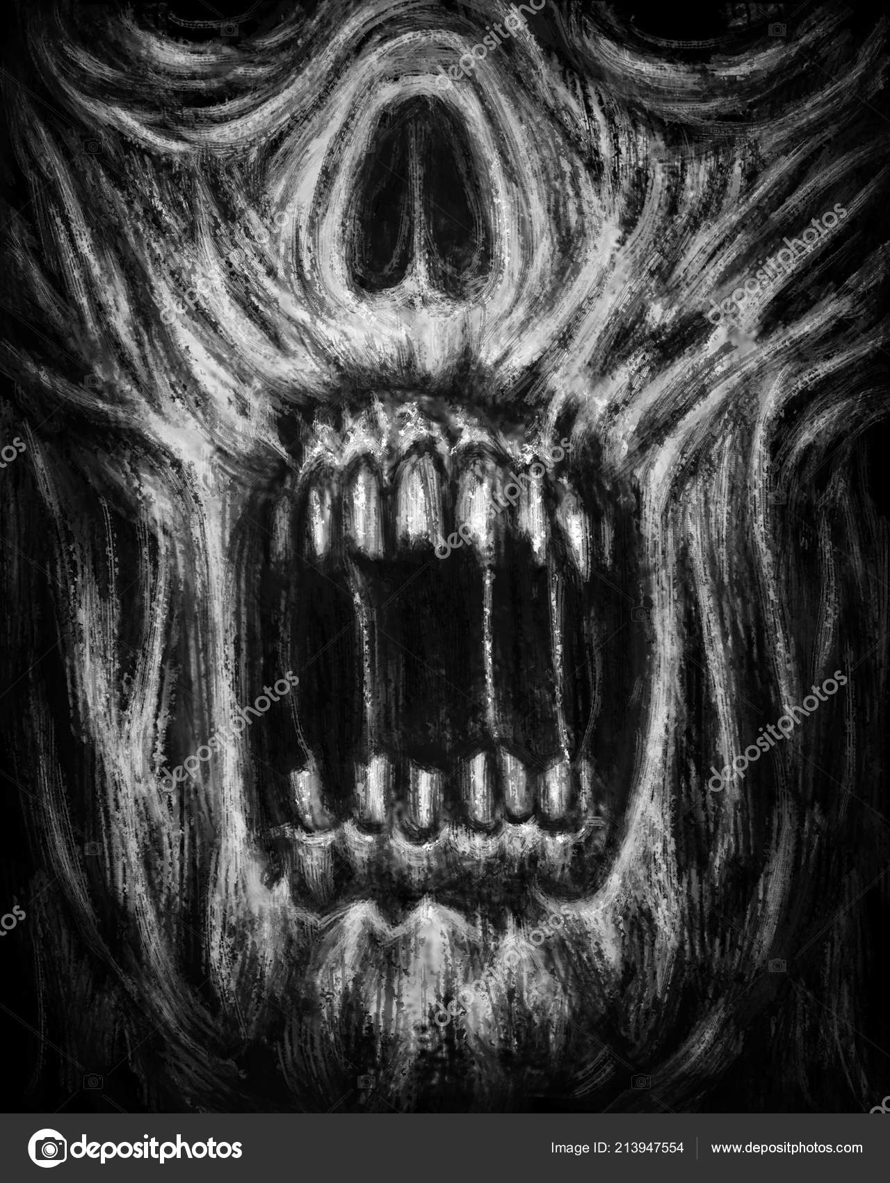 Gruselige Zombie Kiefer Auf Schwarzem Hintergrund Abbildung Horror