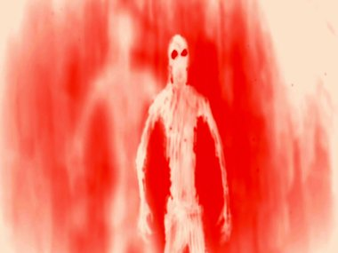Attack ghost inside tomb. Red background color. Genre of horror.