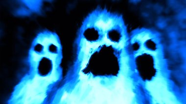 Scary ghost character face. Genre of horror. Blue background color.