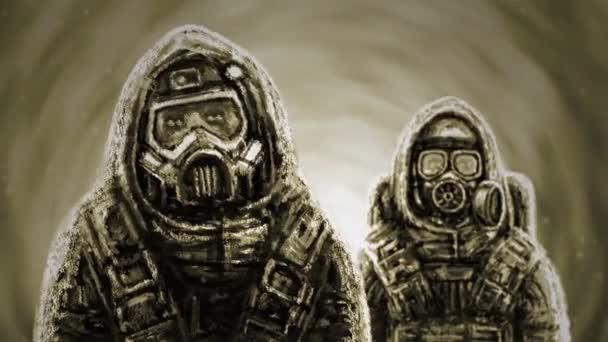 Animaci záchranářů v ochranný oblek a plynovou masku. Biologické nebezpečí