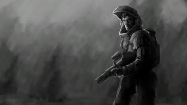 Astronauta in tuta di tiro del fucile. Animazione di fantascienza. Soldato del futuro carattere