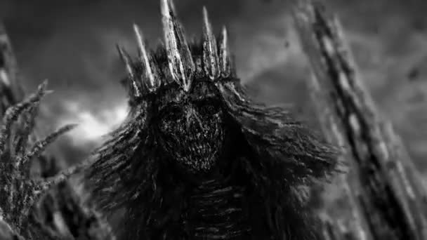 Dark queen with crown pulls bony hand. Fantasy animation. Black and white background