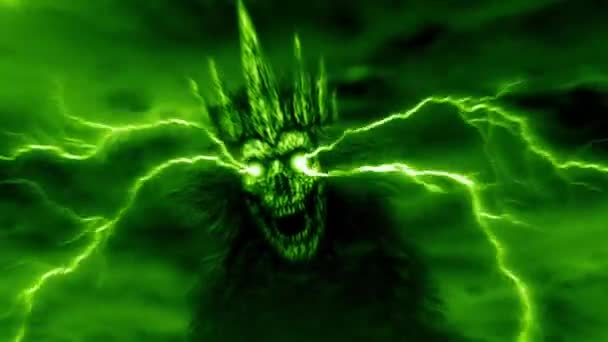 Dark queen with crown with lightning from eyes. Fantasy cartoon. Green background color.