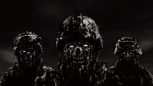 Three soldiers zombies in helmets stand against a dark sky. Animation in genre of horror. Black and white color.