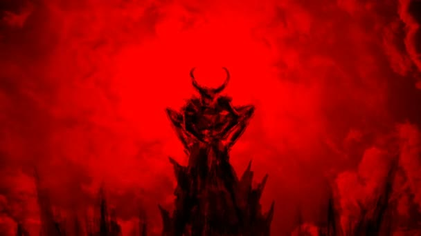 Demon spreads its wings and flies up. Animation in genre of horror. Red background color.