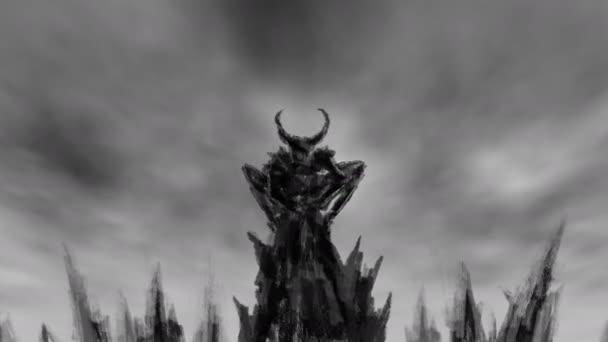 Okřídlený démon startuje z vrcholu hory. Animace v žánru horor. Černá a bílá barva
