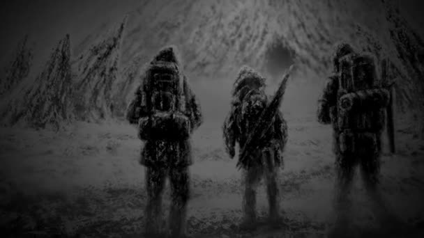 Three men stands at the entrance to the cave. Drawing digital animation. Genre of horror. Black and white background color.