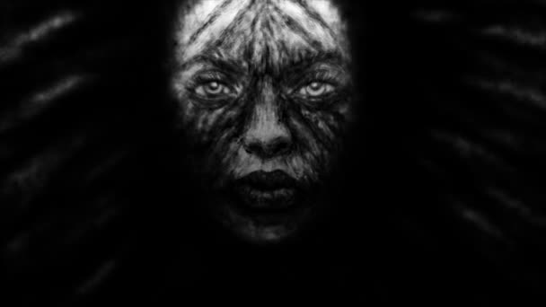 Creepy witch girl face with black developing hair. Animation in genre of fantasy. Black and white colors.