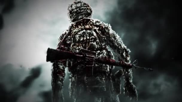 Sinister zombie soldier turned and looks with burning eyes. Animation in genre of horror.