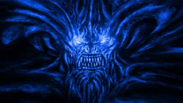 Angry devil with horns and sparkling eyes. Animation in the genre of horror. Blue background color.
