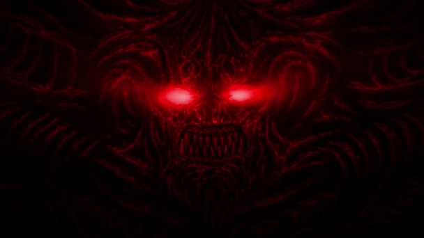 Screaming devil with horns and sparkling eyes. Animation in the genre of horror. Red background color.