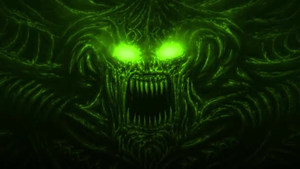 Evil screaming demon with horns and burning eyes. Animation in the genre of fantasy. Green background color.