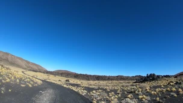 Stabilizovaný fotoaparát hnutí uchytit na auto do budoucna na národního parku La Payunia v Malarge, Cuyo, Mendoza, Argentina. Černé a červené hory a sopky z lapillis vulkanické horniny s zlaté trávy