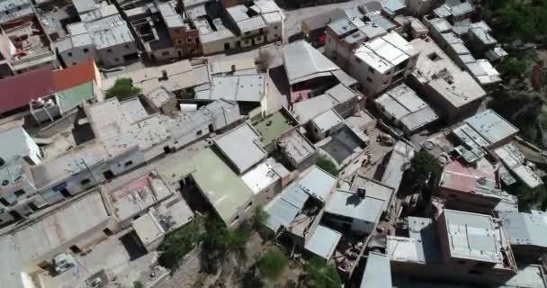 Top aerial of slum, town. Detail of roofs. Iruya, Salta, Argentina