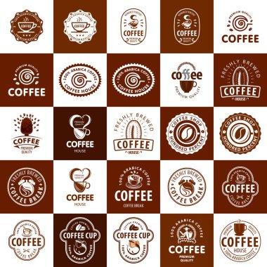 Set of logos on coffee icon