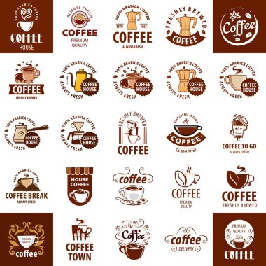 Set of logos on coffee icon