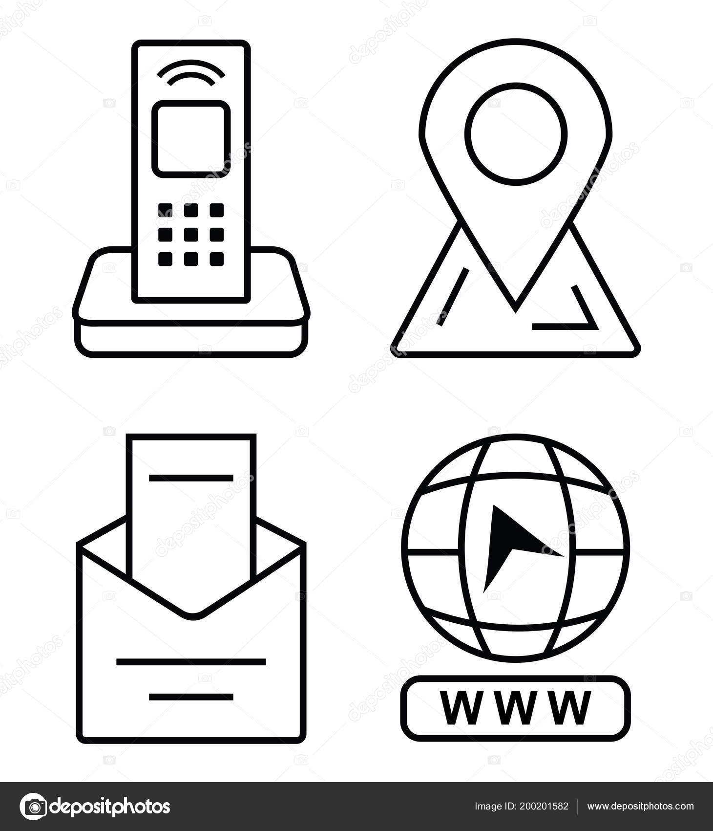 Icones Minces Pour Carte De Visite Telephone Bureau Marqueur Sur La Par Courriel Cliquez Acceder Au Site Lettre Dans Lenveloppe