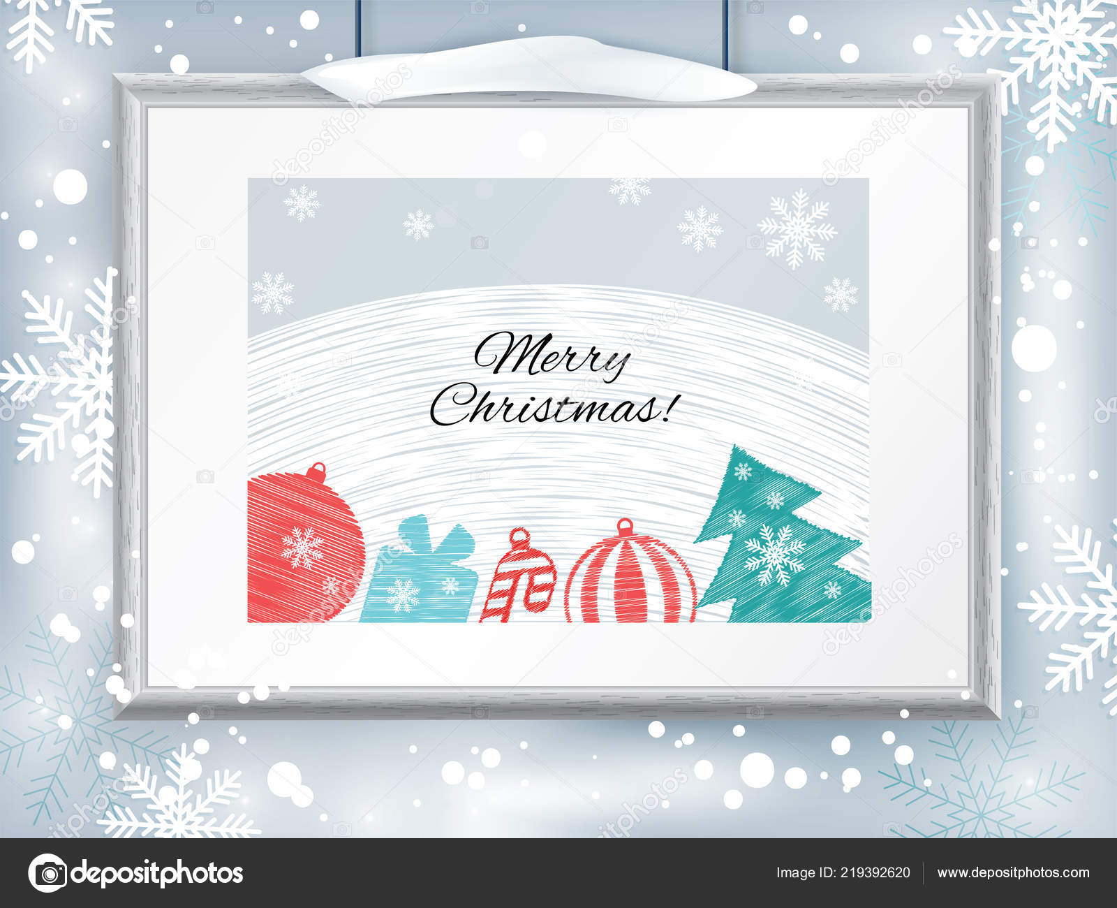 Christmas Certificate Border.Christmas Certificate With Grey Realistic Border On