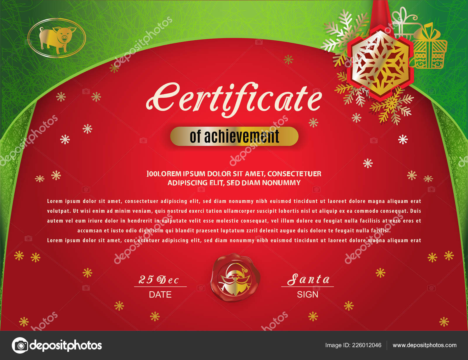 Christmas Certificate Border.Christmas Certificate Green Border Gold Pig Red Background