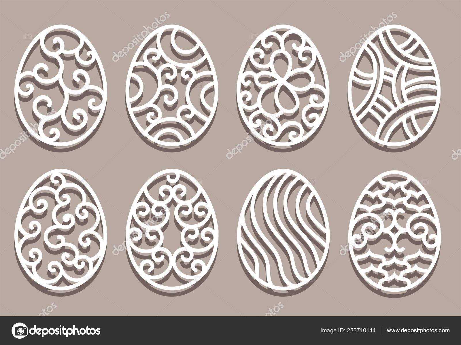 Easter Eggs Set White Ornamental Eggs For Laser Cutting On